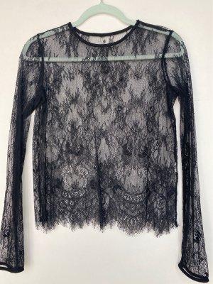 Zara Siateczkowa koszulka czarny