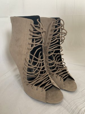 Lace Up Peep Toe Boots