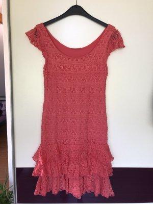 Lachsfarbenes Kleid mit Rüschen von Promod Größe 36