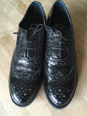 Donna Carolina Wingtip Shoes black leather