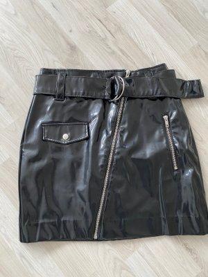 Lack fake Lederrock schwarz gr 36 High Waisted