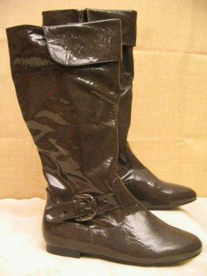 Lack Stiefel Größe 37 Flats Schnallen Boots Grau