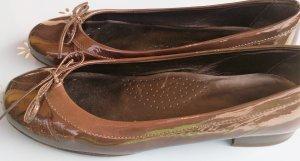 Ballerina di pelle verniciata marrone-viola Pelle