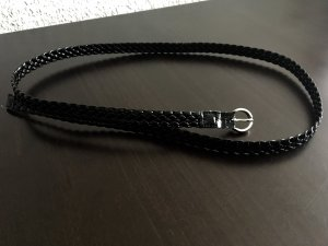 H&M Cinturón trenzado negro Imitación de cuero