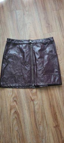 F&F Falda de cuero de imitación violeta amarronado poliamida