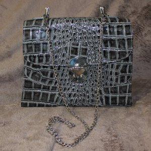 Lackleder Tasche mit Kette Kroko vintage