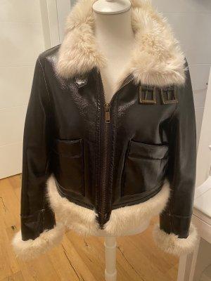 Lacklederjacke Michael Kors mit Faux Fur