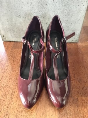 Tamaris T-Strap Pumps bordeaux leather