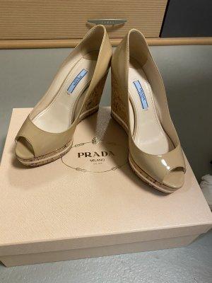Prada Wedge Pumps cream leather