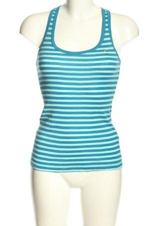 Lacoste Basic Top türkis-blau Streifenmuster Casual-Look