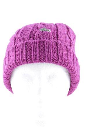 Lacoste Beanie purpur Zopfmuster Street-Fashion-Look