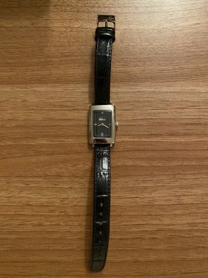 Lacoste Watch With Leather Strap black-silver-colored