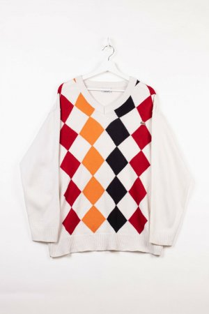 Lacoste Knitted Sweater white cotton