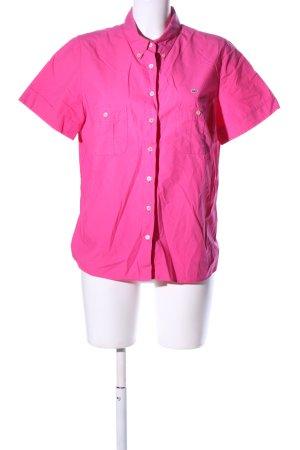 Lacoste Kurzarm-Bluse pink Schriftzug gestickt Casual-Look
