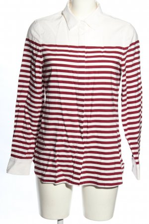 Lacoste Camicetta a maniche lunghe bianco-rosso motivo a righe stile casual