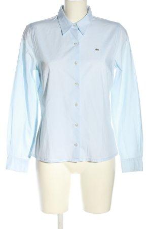 Lacoste Langarmhemd blau Schriftzug gestickt Business-Look