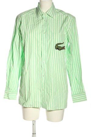 Lacoste Langarmhemd grün-weiß Schriftzug gestickt Casual-Look