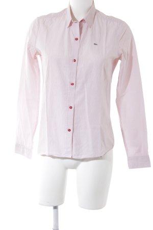 Lacoste Langarmhemd weiß-rot Streifenmuster Business-Look