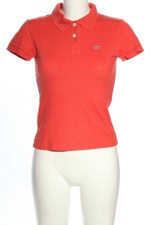 Lacoste Polo-Shirt rot Schriftzug gestickt Casual-Look