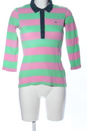 Lacoste Polo verde-rosa motivo a righe stile casual