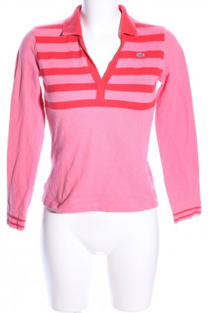 Lacoste Polo-Shirt pink-rot Streifenmuster Casual-Look