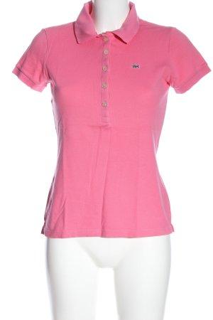 Lacoste Polo-Shirt pink Schriftzug gestickt Casual-Look