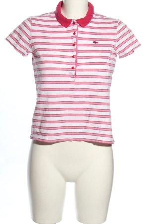 Lacoste Polo bianco-rosa motivo a righe stile casual
