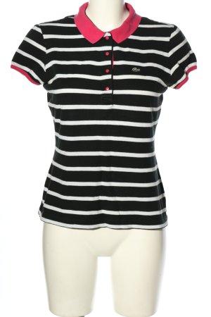 Lacoste Polo noir-blanc motif rayé style décontracté