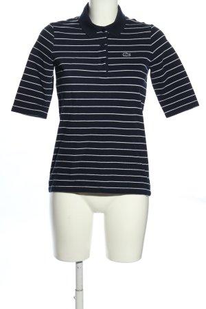 Lacoste Polo blu-bianco motivo a righe stile casual