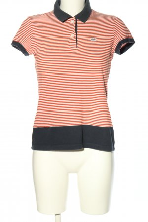 Lacoste Polo-Shirt weiß-rot Streifenmuster Casual-Look