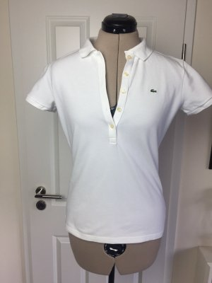 Lacoste Poloshirt, weiß, in Slim Fit Passform Gr 42, fällt aus wie 38