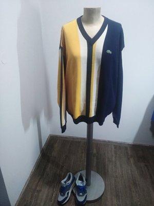 Lacoste Pullover Strick V-Neck gelb blau grün Unisex Gr. XL