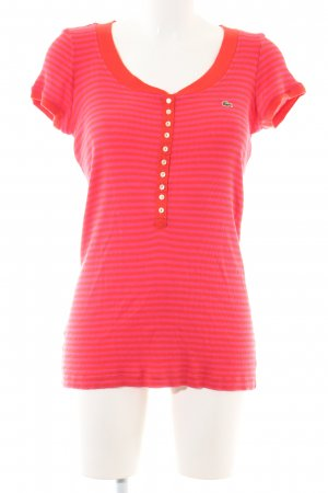 Lacoste Geribd shirt rood-roze gestreept patroon casual uitstraling