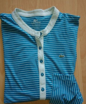 Lacoste, Shirt, 3/4 Arm, Türkis Gestreift, Gr L, Leicht