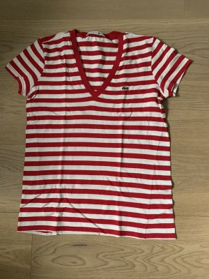 Lacoste V-Neck Shirt white-neon red