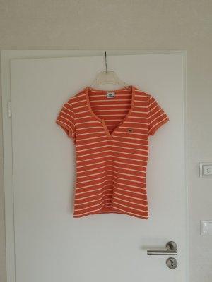 Lacoste Shirt orange weiß Streifen