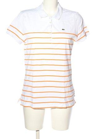 Lacoste T-shirt bianco-arancione chiaro motivo a righe stile casual