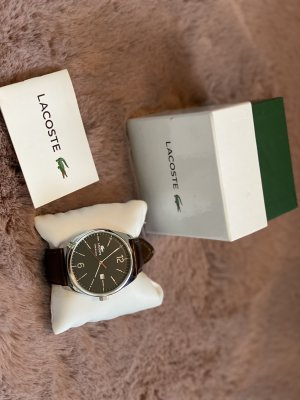 Lacoste Watch With Leather Strap dark brown