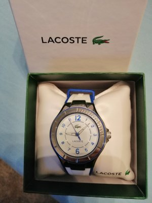 Lacoste Watch With Leather Strap white-blue