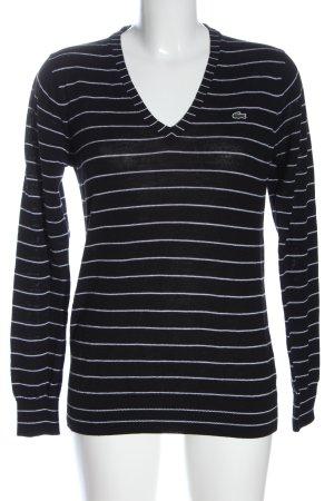 Lacoste V-Ausschnitt-Pullover schwarz-weiß Streifenmuster Casual-Look