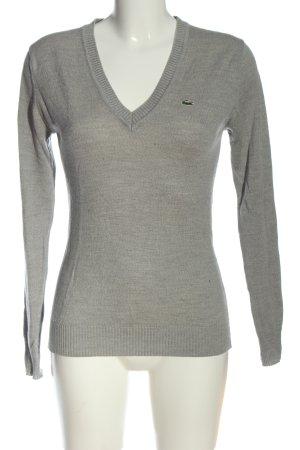 Lacoste Maglione con scollo a V grigio chiaro stile casual