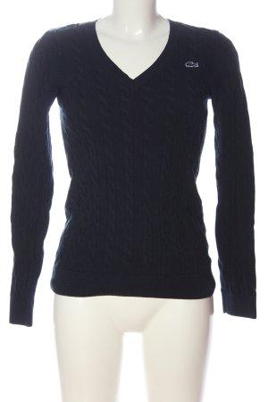 Lacoste Jersey con cuello de pico azul punto trenzado look casual