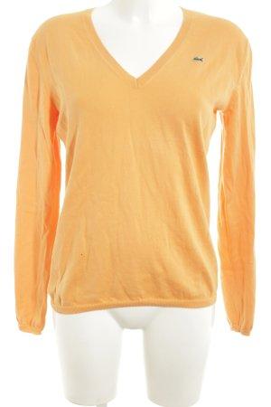 Lacoste V-Ausschnitt-Pullover blassgelb Casual-Look