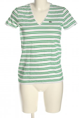Lacoste V-Ausschnitt-Shirt weiß-grün Streifenmuster Casual-Look