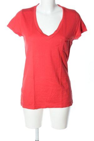 Lacoste T-shirt col en V rouge style décontracté