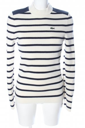 Lacoste Wool Sweater white-blue striped pattern casual look