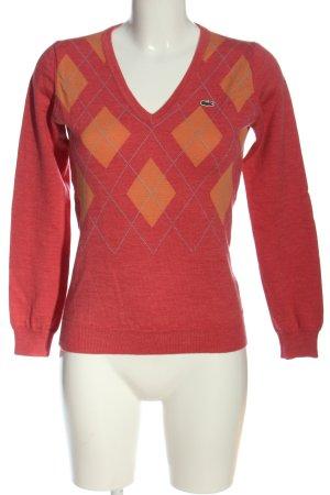 Lacoste Maglione di lana rosso motivo grafico stile casual
