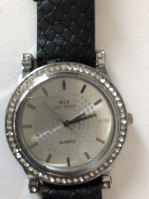 Orologio con cinturino di pelle nero-argento