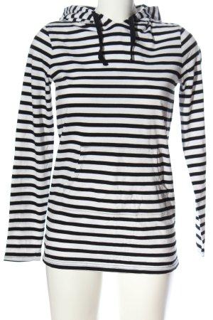 Ladies Camicia con cappuccio bianco-nero motivo a righe stile casual