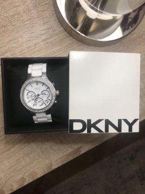 DKNY Zegarek z metalowym paskiem biały-srebrny